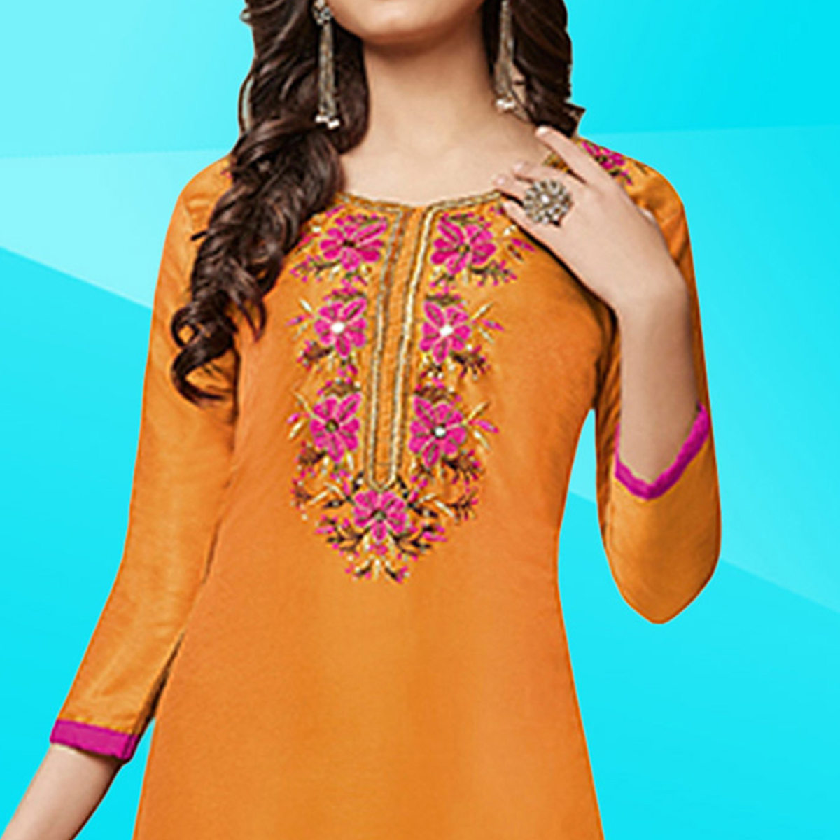 Opulent Orange Colored Embroidered Work Cotton Dress Material