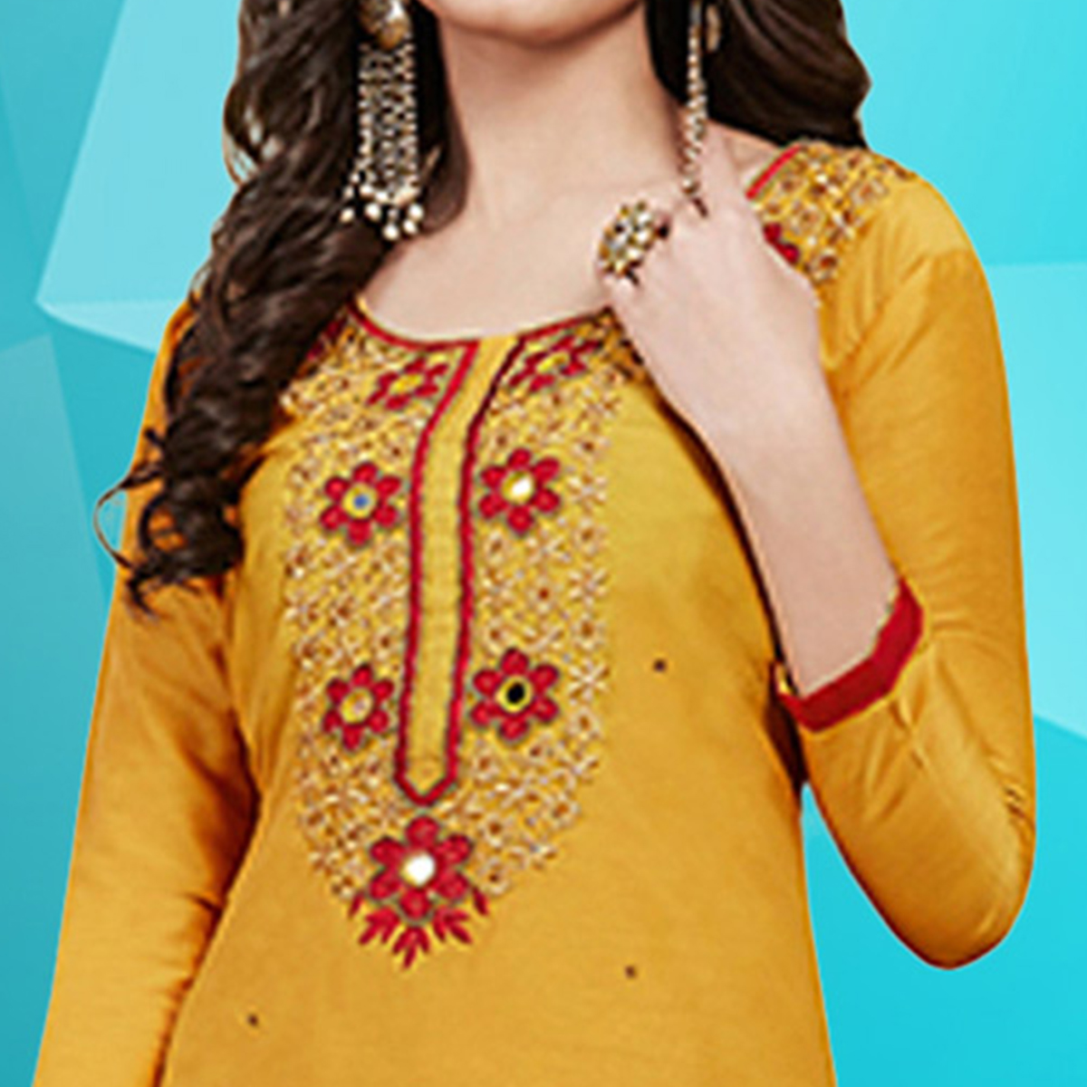 Dazzling Yellow Colored Embroidered Work Cotton Dress Material