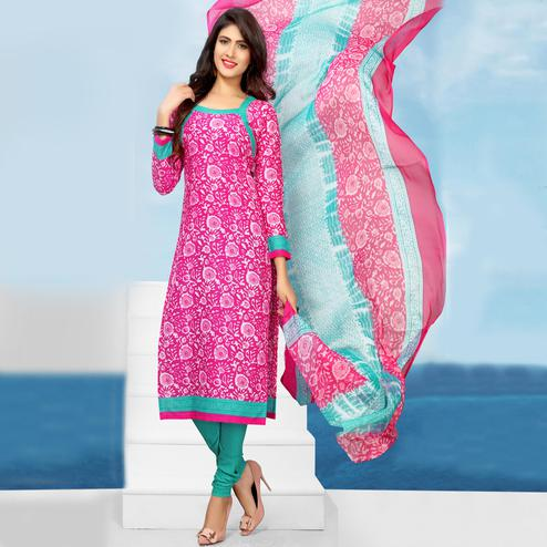 Charming Pink Colored Casual Printed Cotton Dress Material