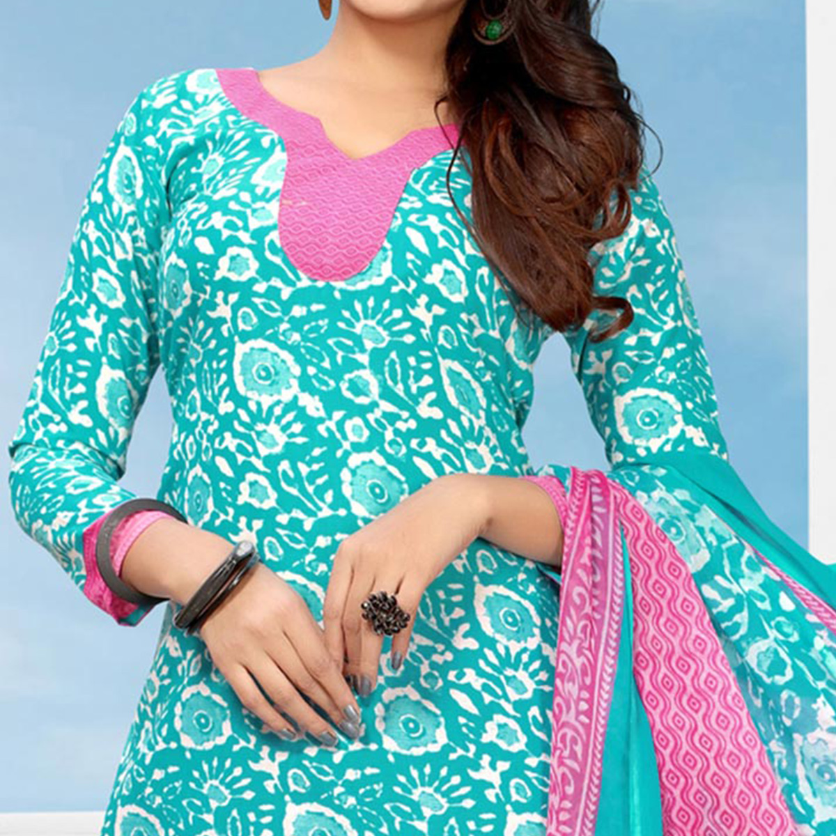 Refreshing Aqua Blue Colored Casual Printed Cotton Dress Material
