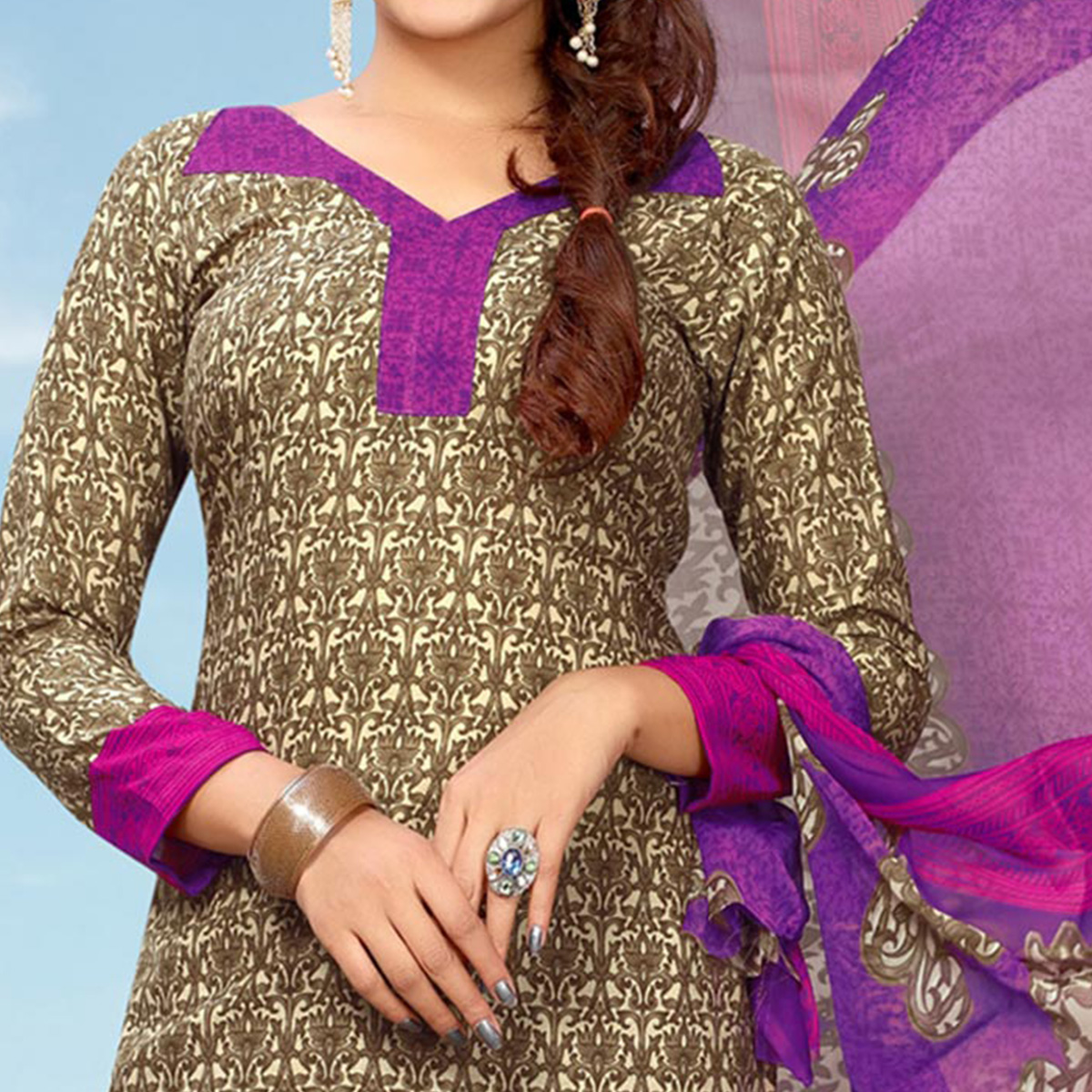 Appealing Multi Colored Casual Printed Cotton Dress Material