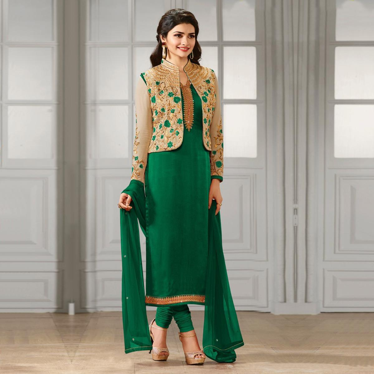f074fe84a8 Buy Green Party Wear Designer Salwar Suit for womens online India, Best  Prices, Reviews - Peachmode