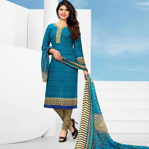 Classy Blue Colored Casual Printed Cotton Dress Material
