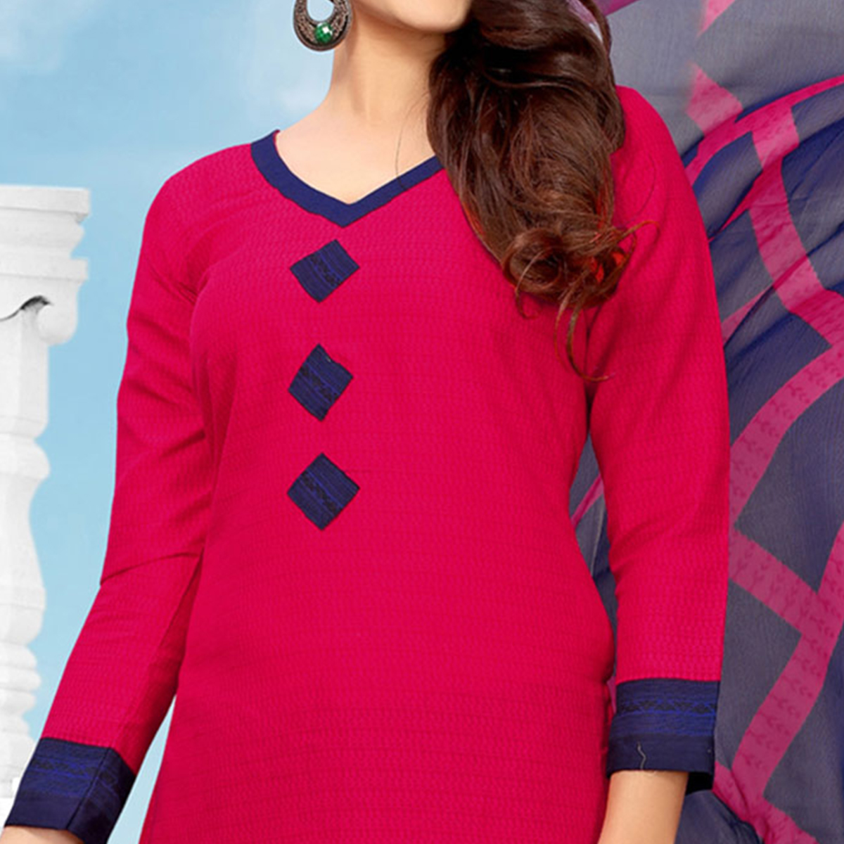 Eye-Catching Pink Colored Casual Printed Cotton Dress Material