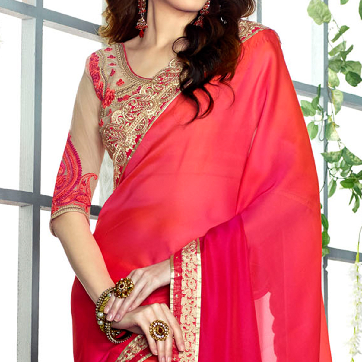 Gleaming Deep Pink Colored Party Wear Embroidered Georgette saree