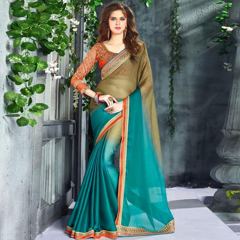 Arresting Teal Blue-Mehendi Green Colored Party Wear Embroidered Georgette saree