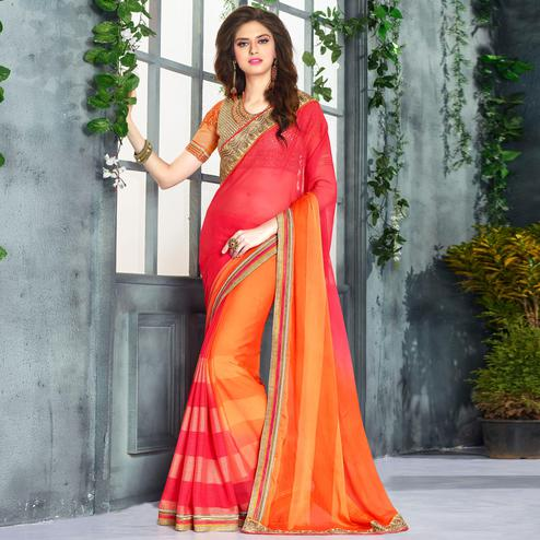 Exceptional Orange - Pink Colored Party Wear Embroidered Georgette saree
