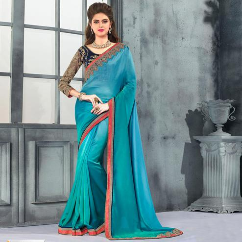 Ethnic Teal Blue Colored Party Wear Embroidered Georgette saree