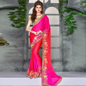 Excellent Deep Pink-Red Colored Party Wear Embroidered Georgette saree