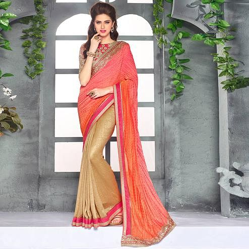 Starring Golden-Red Colored Party Wear Embroidered Georgette saree