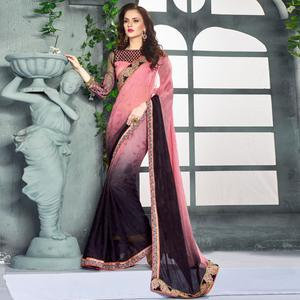 Surpassing Pink-Black Colored Party Wear Embroidered Georgette saree