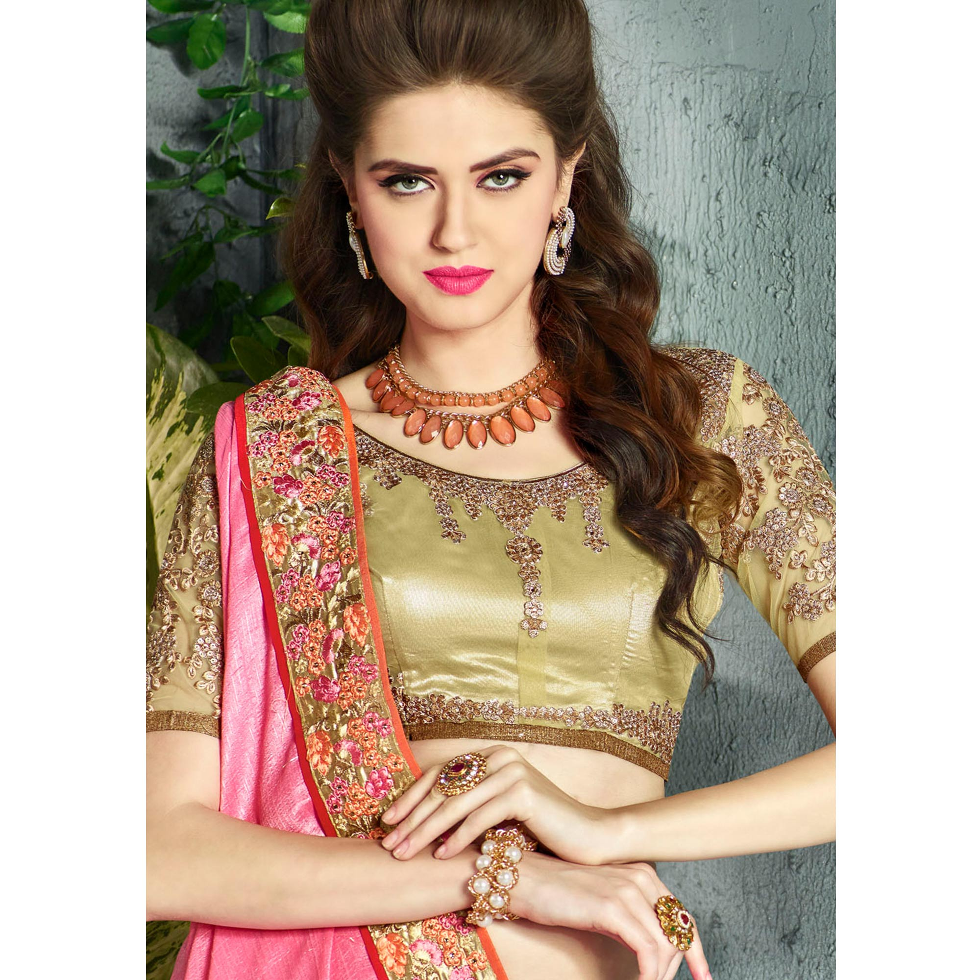 Imposing Pink Colored Party Wear Embroidered Georgette saree