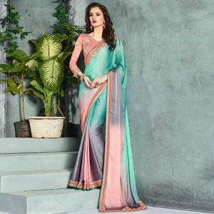 Blissful Turquoise-Grey Colored Party Wear Embroidered Georgette saree