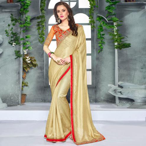 Ideal Golden Colored Party Wear Embroidered Georgette saree