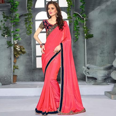 Engrossing Pink Colored Party Wear Embroidered Georgette saree