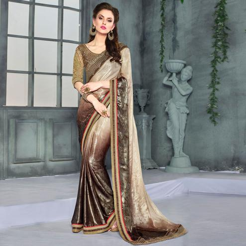 Fantastic Dark Brown-Beige Colored Party Wear Embroidered Georgette saree