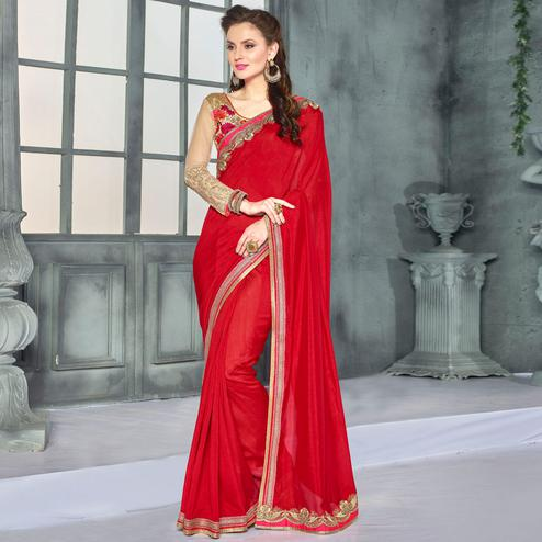 Staring Deep Red Colored Party Wear Embroidered Georgette saree