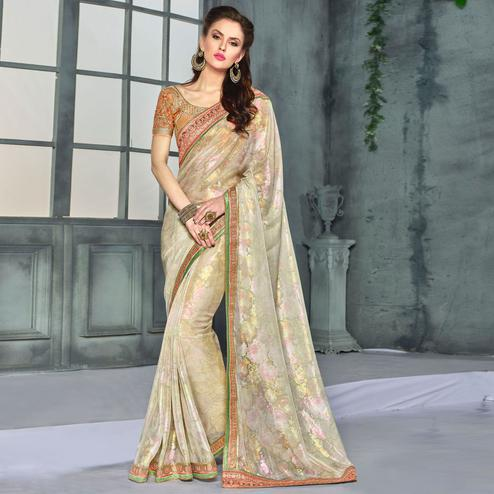 Pleasance Cream Colored Party Wear Embroidered Georgette saree