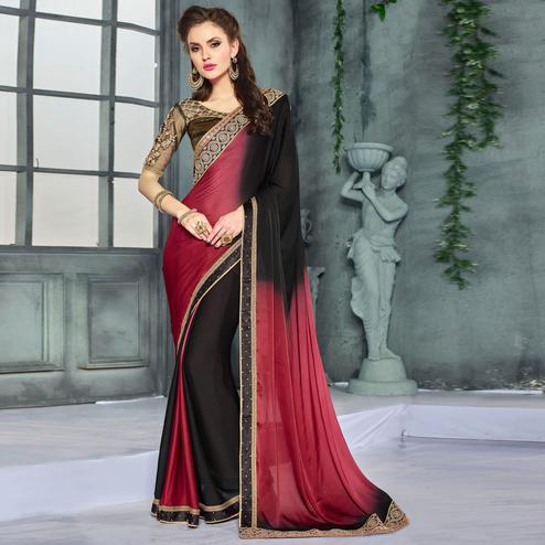 Pleasant Maroon-Black Colored Party Wear Embroidered Georgette saree