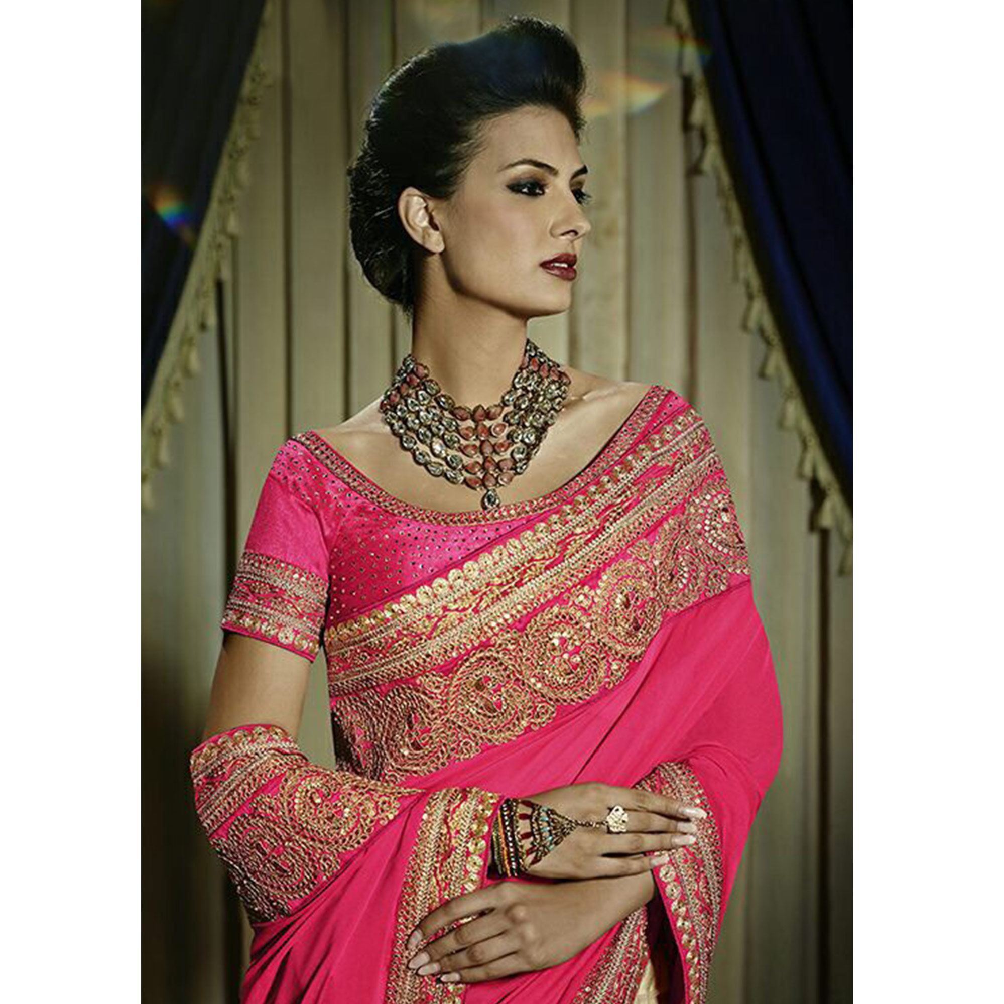 Opulent Deep Pink & Cream Colored Party Wear Embroidered Georgette - Net Saree