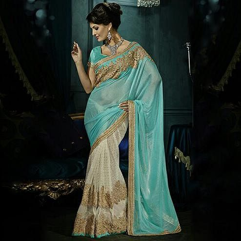 Dazzling Turquoise & Cream Colored Party Wear Embroidered Georgette - Net Saree