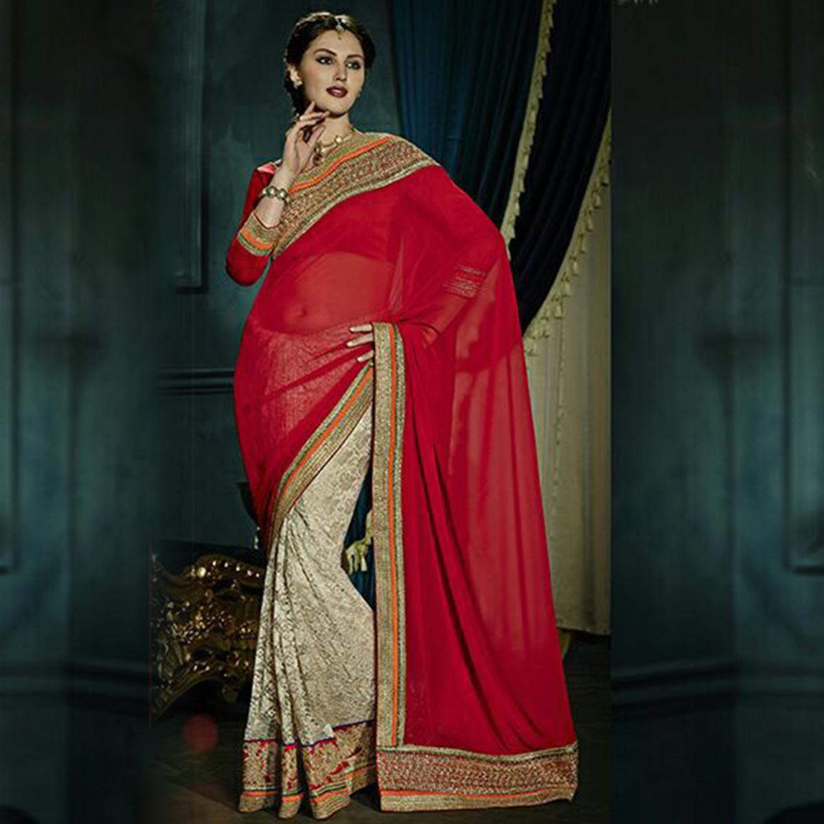 Flattering Red & Cream Colored Party Wear Embroidered Georgette - Net Saree