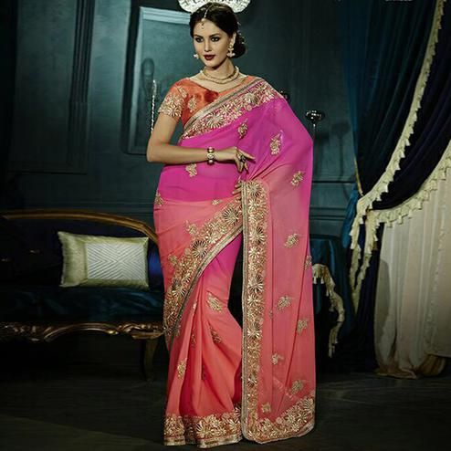 Breathtaking Peach & Pink Colored Party Wear Embroidered Georgette - Net Saree