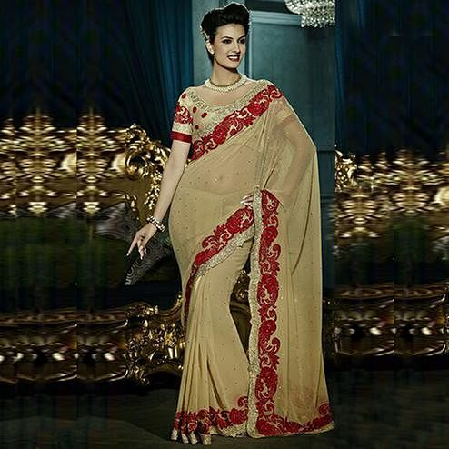 Impressive Beige Colored Party Wear Embroidered Georgette - Net Saree