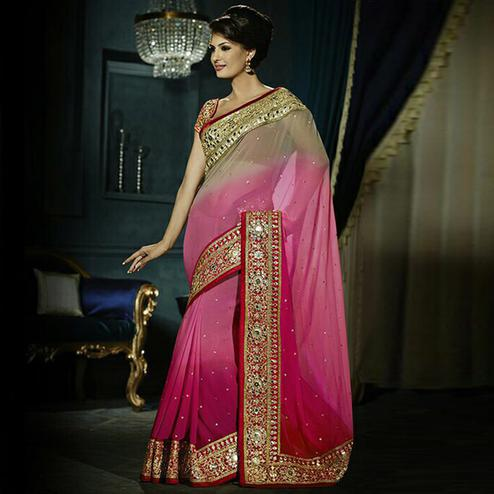 Innovative Shaded Pink & Cream Colored Party Wear Embroidered Georgette - Net Saree