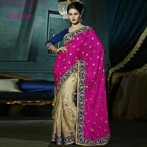 Gleaming Magenta & Beige Colored Party Wear Embroidered Georgette - Net Saree