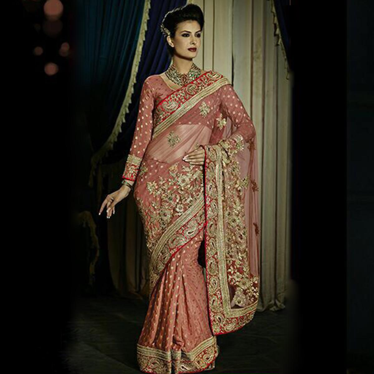Arresting Peach Colored Party Wear Embroidered Georgette - Net Saree