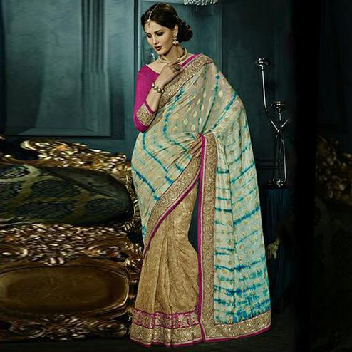 Exceptional Beige & Cream Colored Party Wear Embroidered Georgette - Net Saree