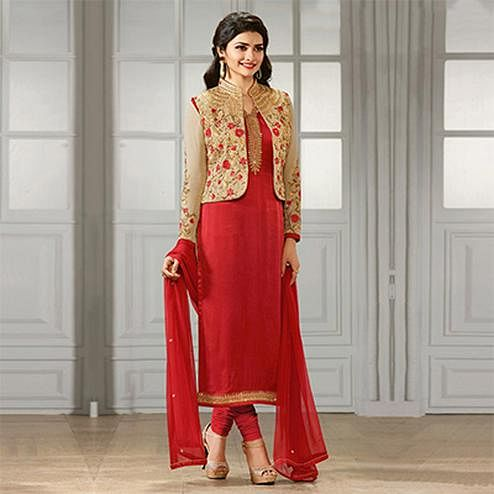 Red Party Wear Designer Salwar Suit