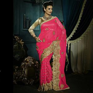 Excellent Dark Pink Colored Party Wear Embroidered Georgette - Net Saree