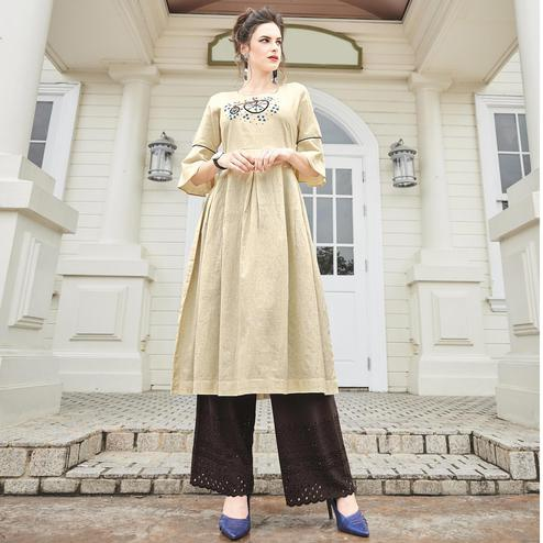 Stylish Off-White Colored Partywear Khadi Fancy Kurti