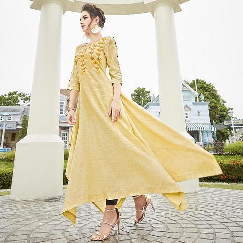 Amazing Cream Colored Partywear Linen Long Kurti