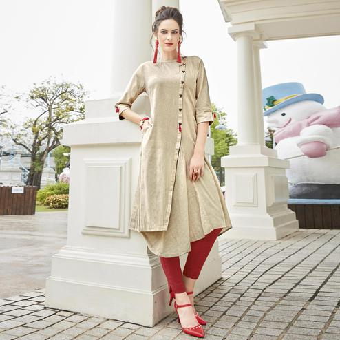 Stunning Cream Colored Partywear Linen Fancy Kurti
