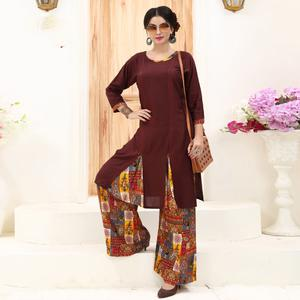 Stunning Brown Colored Partywear Printed Rayon Palazzo Suit