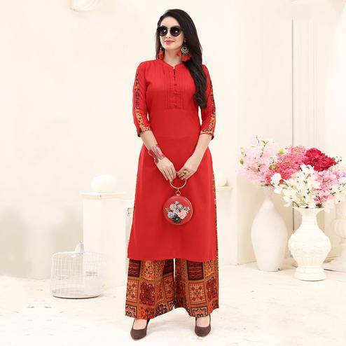 Stylish Red Colored Partywear Printed Rayon Palazzo Suit