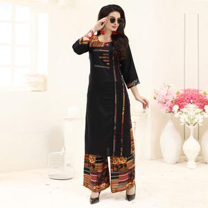 Amazing Black Colored Partywear Printed Rayon Palazzo Suit