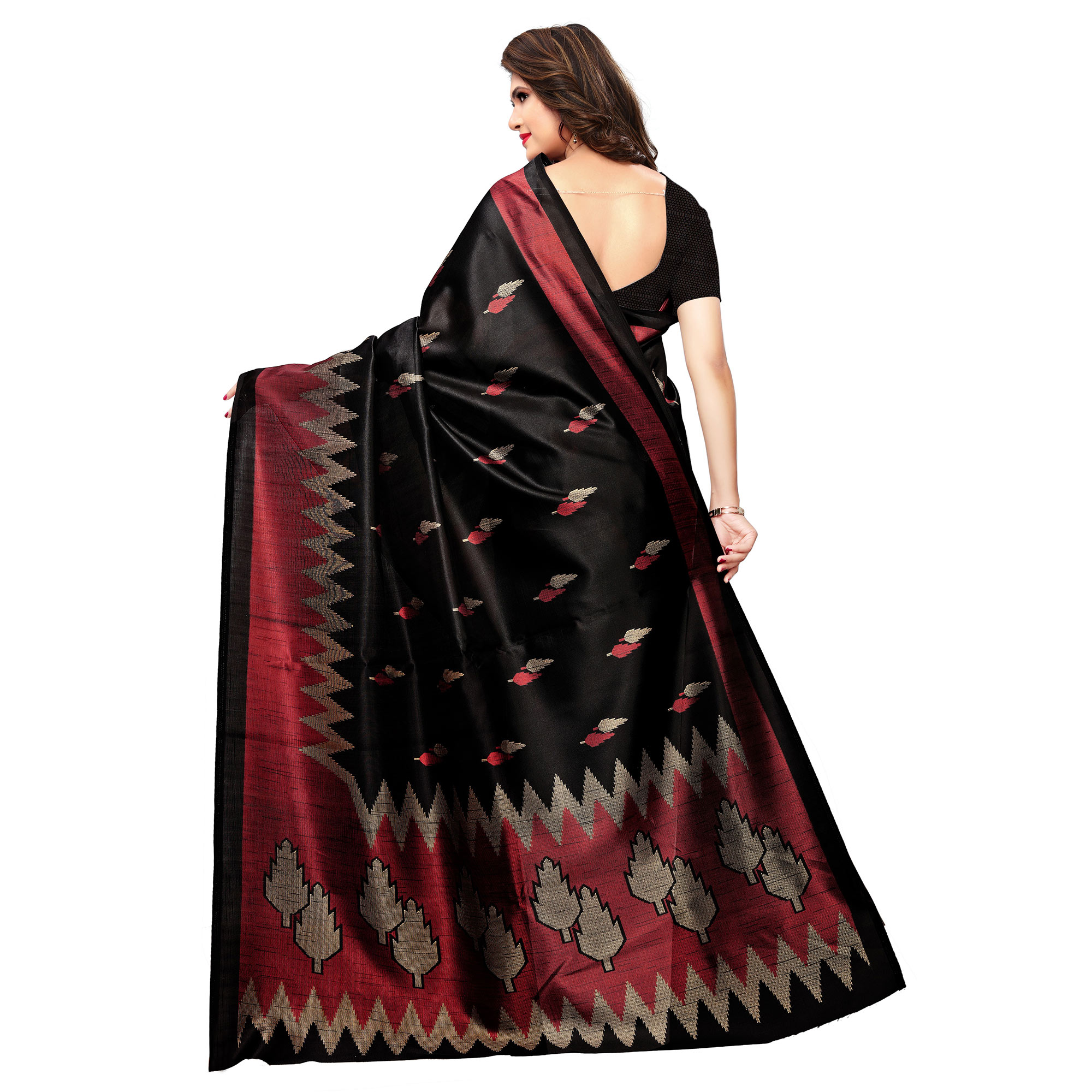 Glorious Black Colored Casual Printed Art Silk Saree
