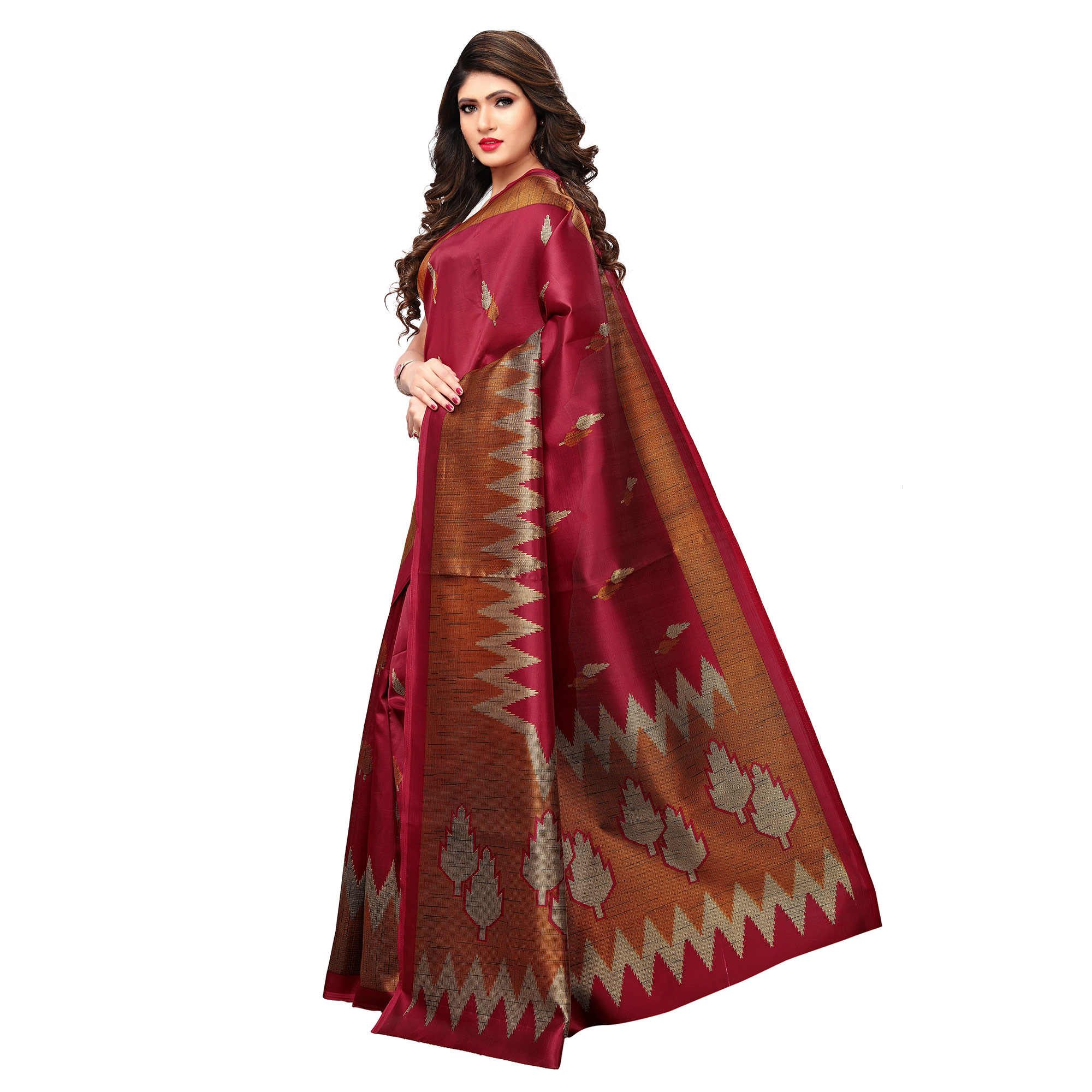 Graceful Dark Pink Colored Casual Printed Art Silk Saree