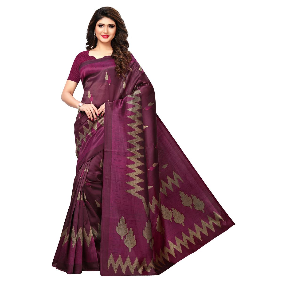 Lovely Wine Colored Casual Printed Art Silk Saree