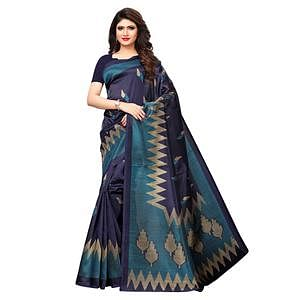 Pretty Navy Blue Colored Casual Printed Art Silk Saree