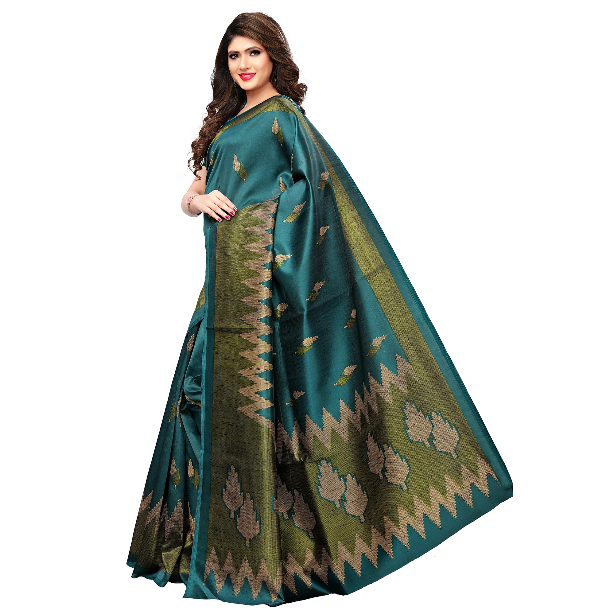Charming Teal Blue Colored Casual Printed Art Silk Saree
