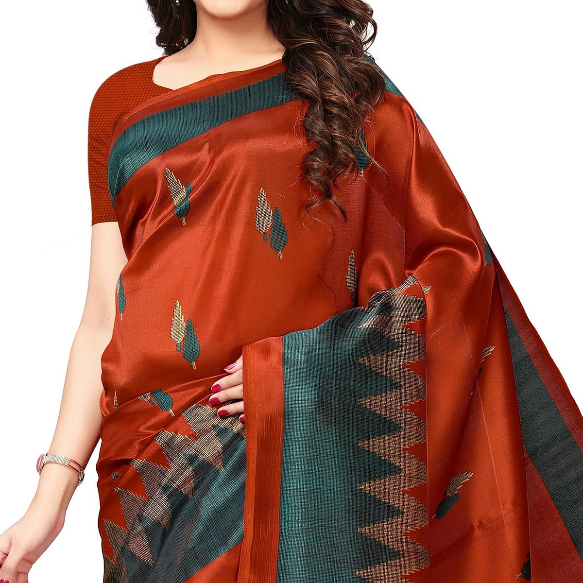 Ravishing Dark Orange Colored Casual Printed Art Silk Saree