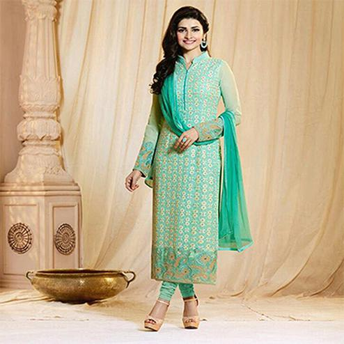 Sky Blue Party Wear Georgette Embroidered Designer Salwar Suit