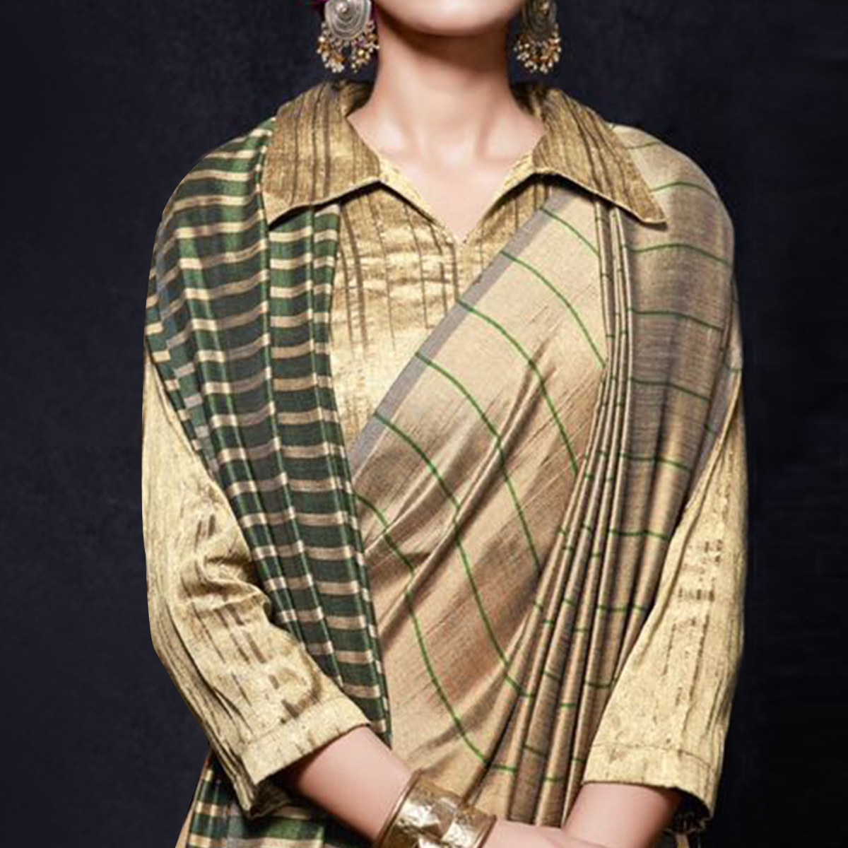 Innovative Beige-Green Colored Reversible Jacquard Saree