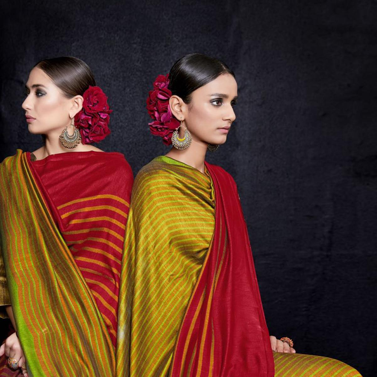 Gleaming Red-Yellow Colored Reversible Jacquard Saree