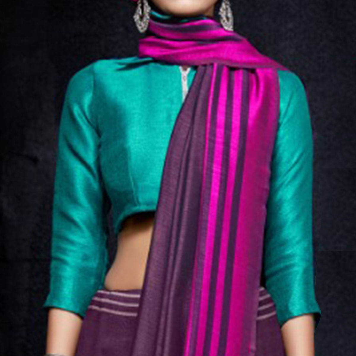 Exceptional Purple-Green Colored Reversible Jacquard Saree